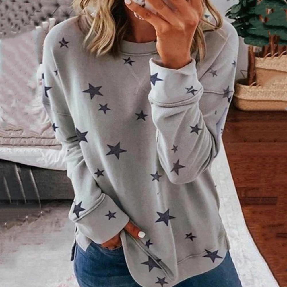 AliExpress - Women T Shirt Autumn Winter Star Print Long Sleeve Basic T-Shirts Casual Top Loose Tee Shirts Femme Tshirt 5XL