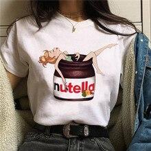 Nutella Kawaii Print T Shirt Vrouwen 90 S Harajuku Ullzang Mode T-shirt Grafische Leuke Cartoon Tshirt Koreaanse Stijl Top Tees vrouwelijke
