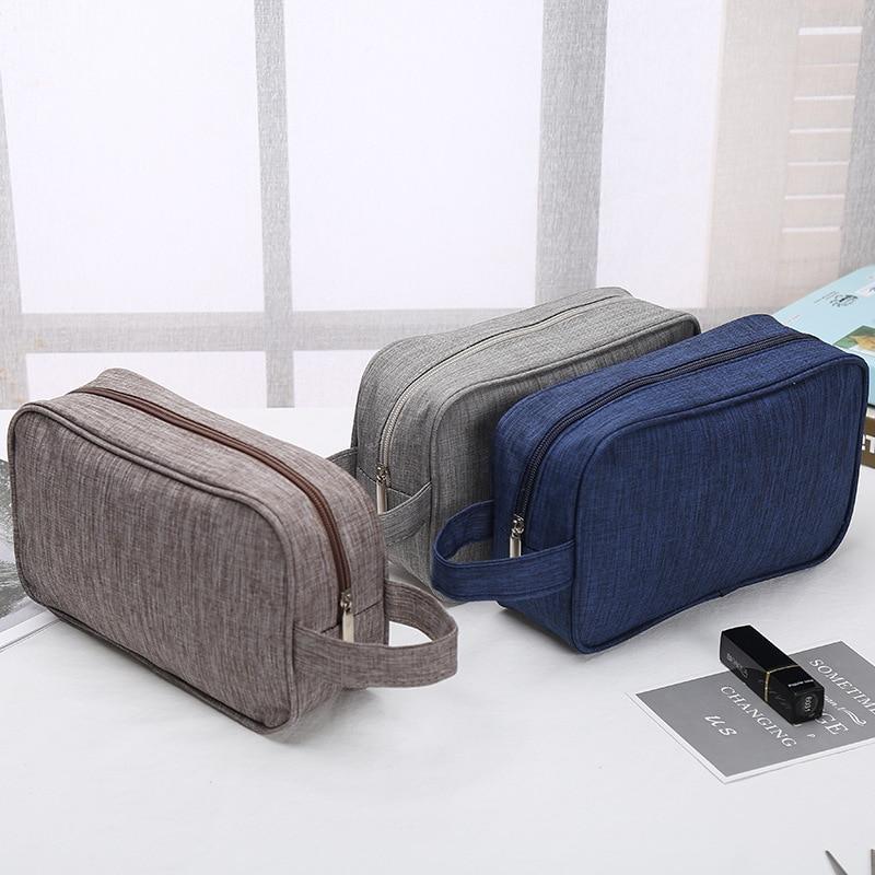 Bolsa de cosméticos monocromática para hombres y mujeres, bolsa de lavado a mano, bolsa multifuncional con cremallera, bolsa de almacenamiento de pintalabios de gran capacidad