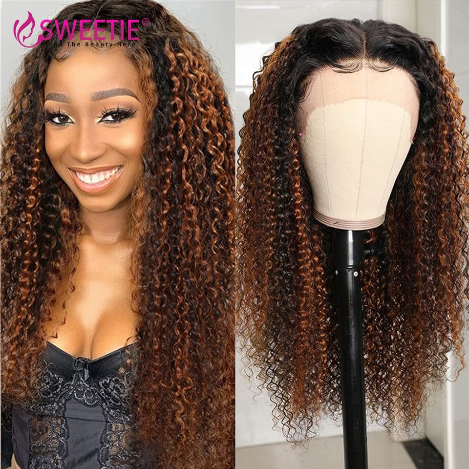 Highlight Wig Human Hair Honey Blonde 13X1 T Part Lace Wigs For Women 4x4 Peruvian Curly Human Hair Wig 13x4 Curly Frontal Wig