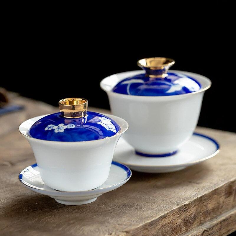 كوب سيراميك نقي مطلي يدويًا Gai Wan Cha ، وعاء شاي كبير من الخزف ، سانكاي تورين ، قشر البيض ، الكونغ فو ، وعاء شاي Gaiwan Sopera De Ceramic