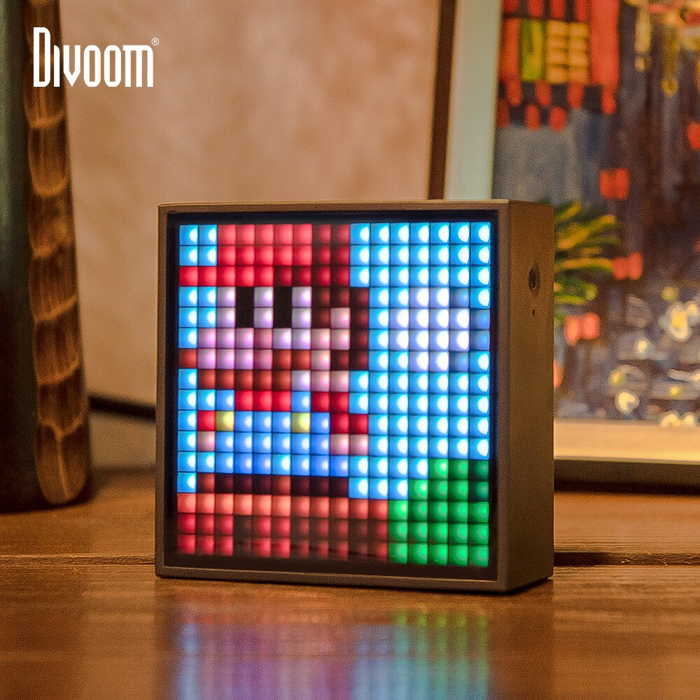 Altavoz portátil Divoom Timebox Evo Bluetooth con alarma de reloj, pantalla LED programable para imagen de píxel, regalo único