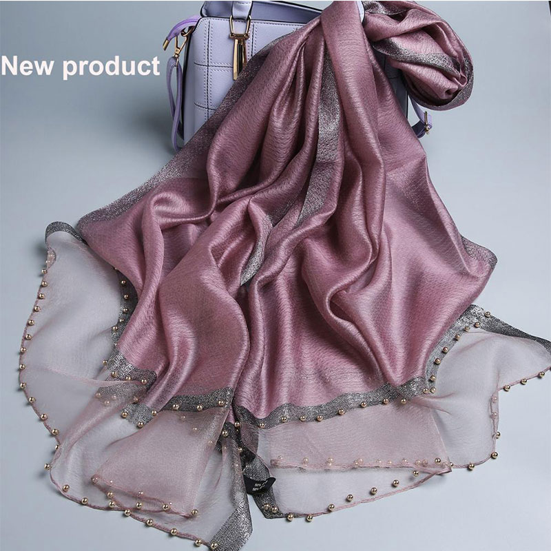 Pañuelo de marca de lujo para mujer, pañuelo de seda de verano para mujer, chal para mujer, pañuelo para mujer, pañuelo para mujer, pashmina, perla, diadema