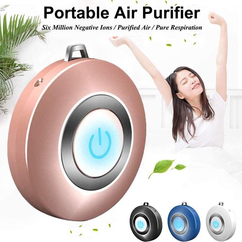 Purificador de ar wearable colar mini portátil usb purificador de ar negativo lon gerador baixo ruído purificadores de ar do carro