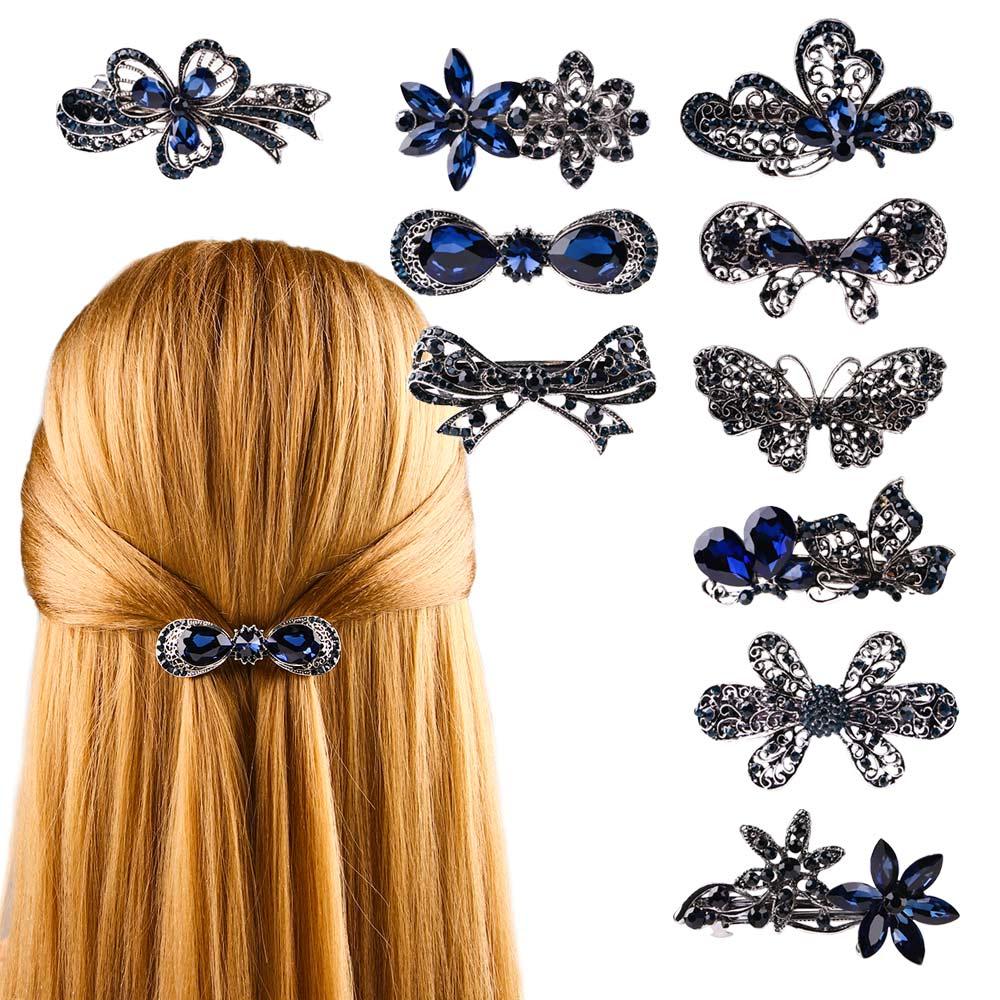 Butterfly Bowknot Hair Clip Blue Rhinestone Flower Hairpin Various Style Barrette Retro Headwear Women Jewelry