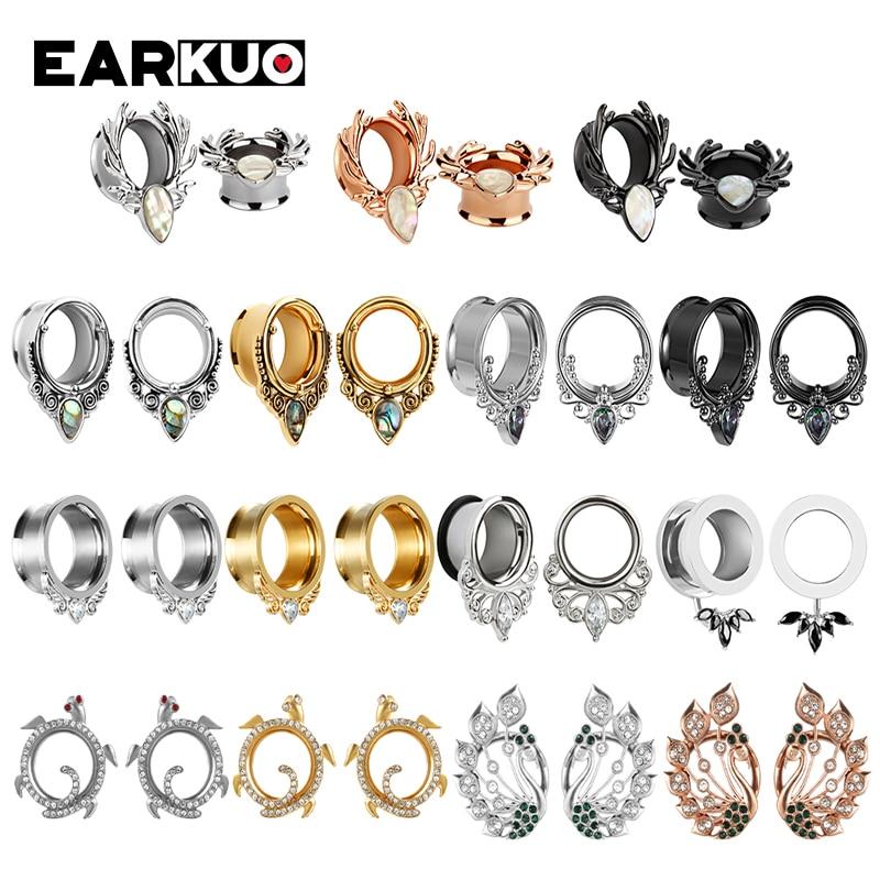 Серьги-туннели EARKUO из нержавеющей стали с заглушками Для Пирсинга Ушей, ювелирные изделия для тела, 2 шт., 6-25 мм, расширители растяжек