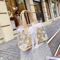 new small daisy straw braided beam set girl one shoulder messenger bag summer fashion transparent jelly bun mother in law bag