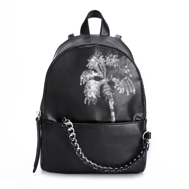 المرأة عالية الجودة بولي Leather الجلود الترتر على ظهره المراهقات الفتيات حقيبة سفر عادية حقيبة الظهر
