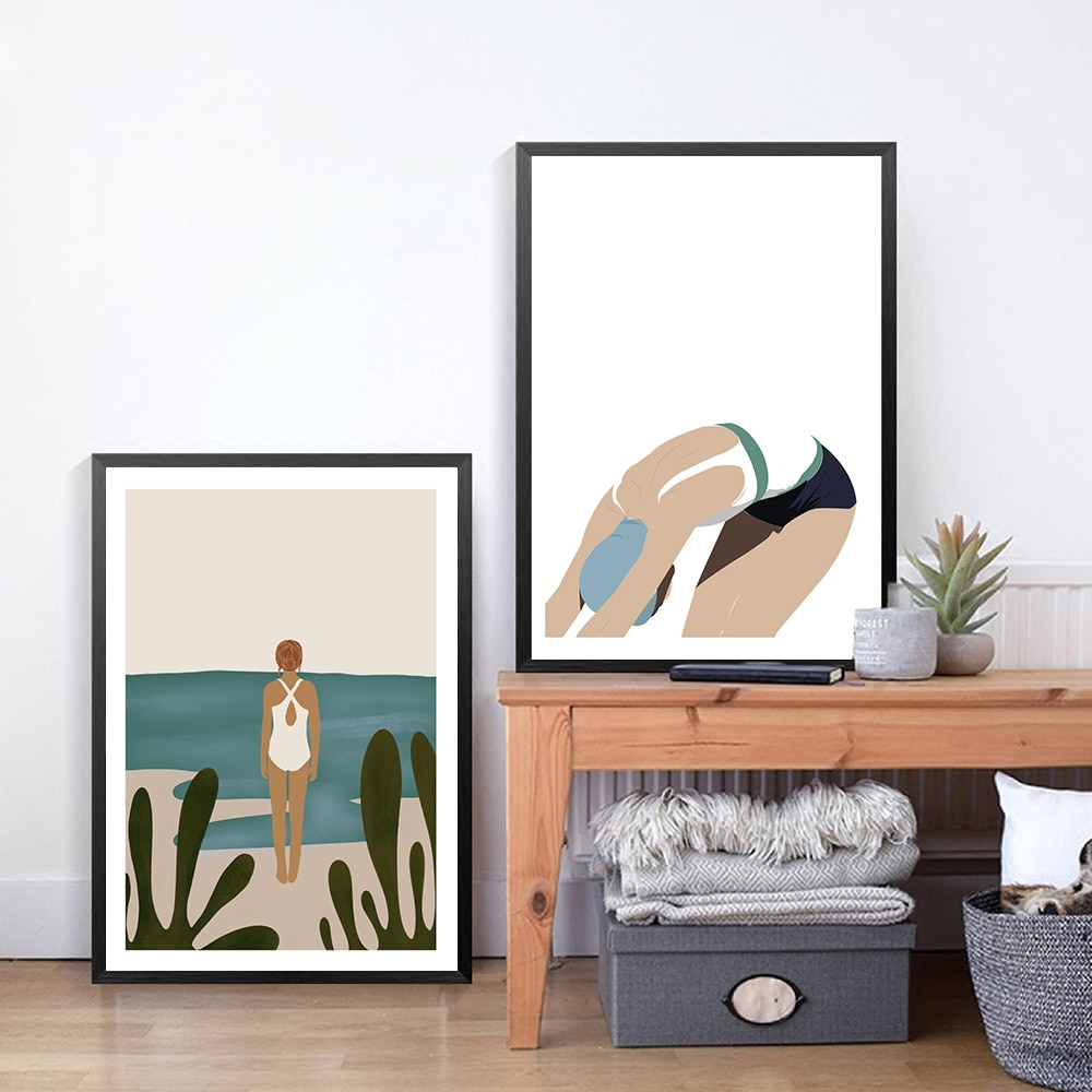 Pintura moderna en lienzo para decoración del hogar, arte de pared para niña, carteles de buceo e impresiones para decoración de la sala de estar