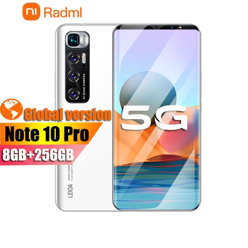 Radmi Note 10 Pro Smart phones 8GB+256GB smartphones 6.1 HD inch cellphones MTK 6763 mobile phones Faca ID adnroid 10.0 phone