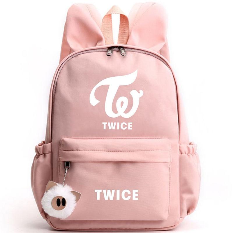 Fashion Korean Kpop Twice Travel Backpack Canvas School Bag Harajuku Girls Rabbit Ear Zipper Cute Backpack Sac A Dos Zipper