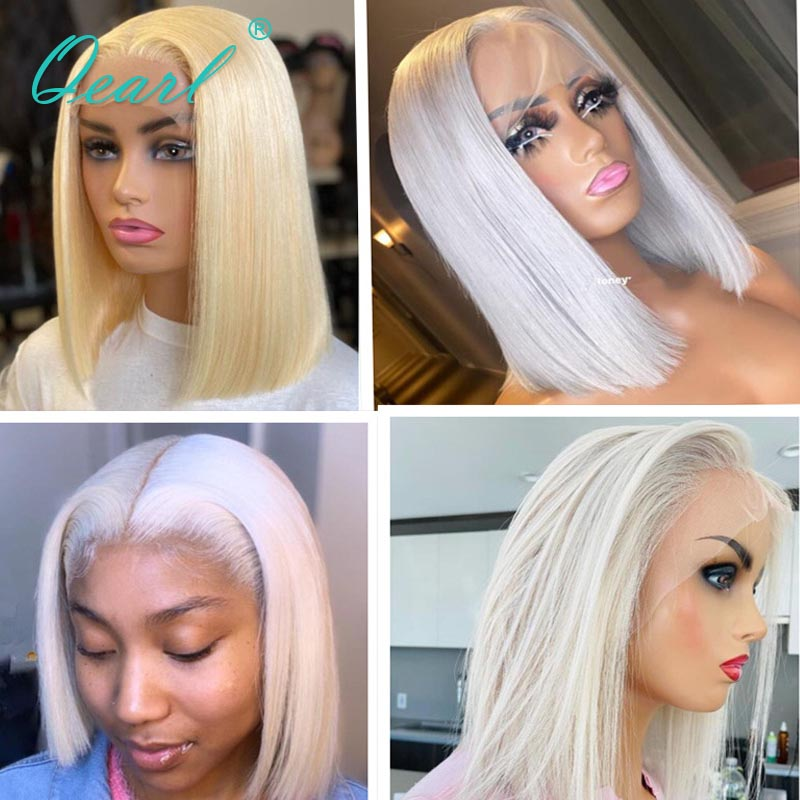 Straight Short Bob Human Hair Lace Wig 613# White Blonde Silver 60# Chinese Virgin Hair 13x1 Lace Part Front Wigs 150% Qearl