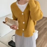 women knitted cardigan sweater top autumn single breasted casual long sleeve blouse elegant v neck winter outwear jacket
