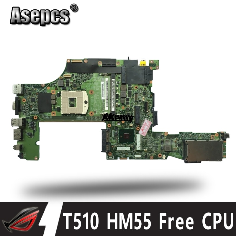 Placa base para portátil FRU 63Y1579 para Lenovo thinkpad T510 T510i placa principal HM55 CPU gratis