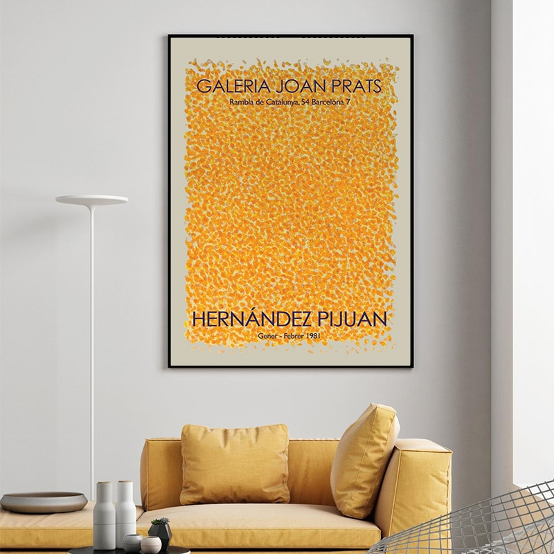 Cartel Vintage de Puntos Amarillos para pared, pintura de lienzo de decoración