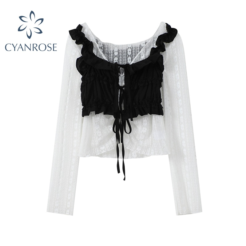 Summer Sexy Women's Blouse White Hollow Out Mesh Black Ruffle Lace Up Draped Vest 2021 Summer Vintage Casual Korean Shirt Female