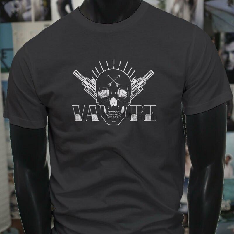 VAPE cráneo blanco vaporizador E-CIG jugo de humo hombres playera Charcoal