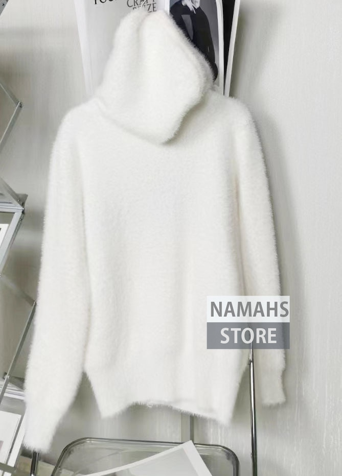 fashion fall hoodie mohair sweater for women 2021 long sleeve o neck letter embroidery branded designer jumper sweaters pullover enlarge
