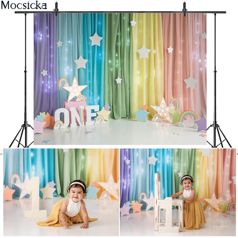 MOCSICKA Rainbow Curtain 1st Birthday Photography Backdrops Stars Bokeh Newborn Baby Kids Decoration Photography Background