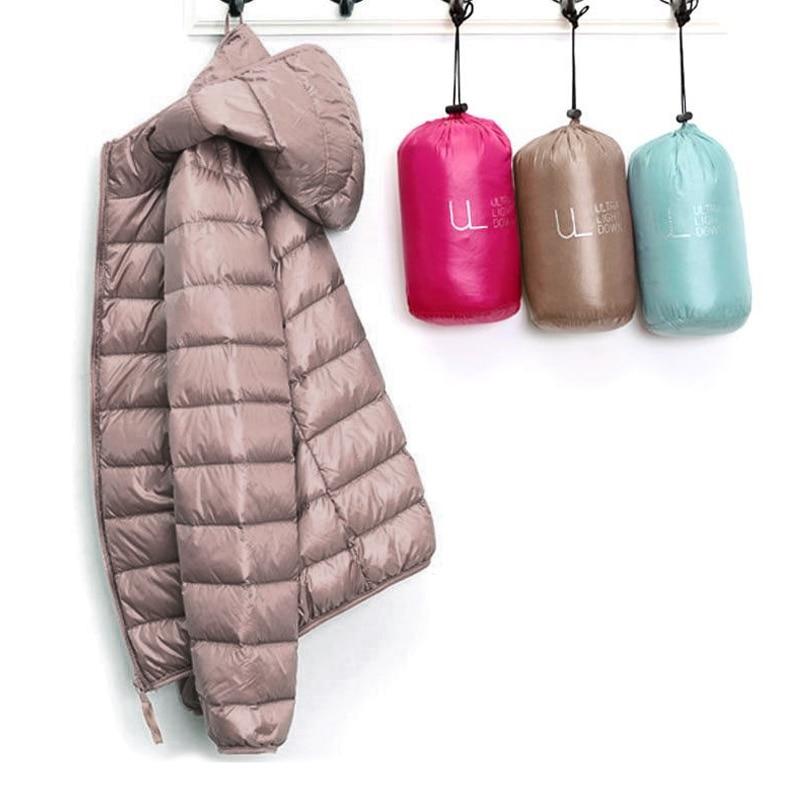 Сверхлегкий тонкий женский пуховик, зимняя куртка с капюшоном, длинный рукав, теплое пальто, портативная женская верхняя одежда