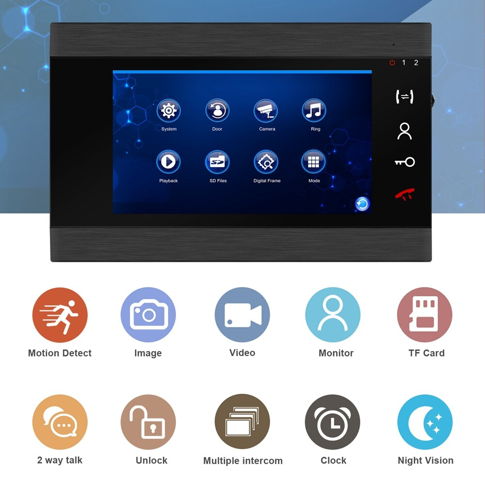 Wired Video Intercom for Home Video Door Phone Video Intercom with Lock RFID Doorbell   Video Record Night Vision enlarge
