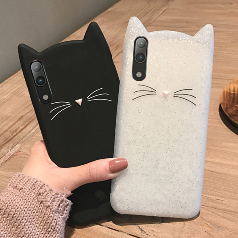 3D Cartoon Cat Ears Soft Silicone Case For Huawei P30 Lite P20 Pro Mate 20 20x 10 Cover For Huawei Y