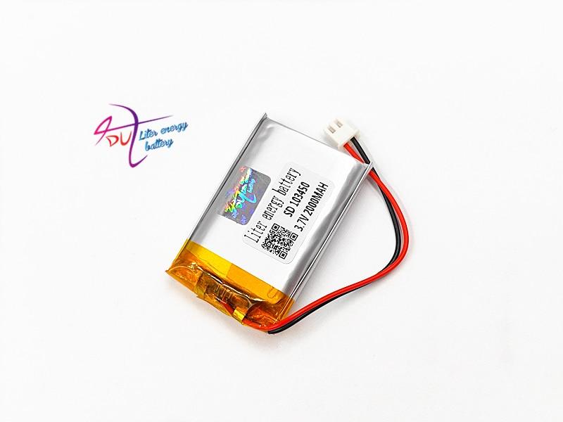 JST PH 2,54 мм 2pin разъем 103450 3,7 в 2000 мАч литий-полимерный LiPo аккумуляторная батарея с для MP3 DVD камеры GPS ноутбука