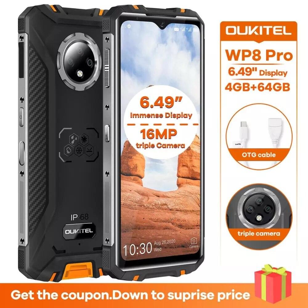 Перейти на Алиэкспресс и купить Оригинальный OUKITEL WP8 Pro IP68 Водонепроницаемый мобильный телефон NFC 6,49 ''HD + 4GB 64GB MT6762D Octa Core Android 10 4G смартфон 5000 мАч