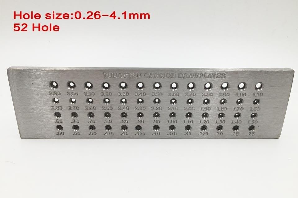 Ювелир дешевые 52 отверстия круглой формы 0,26-4,10 мм вольфрамовый Карбид проволока Drawplate для ювелирных изделий стальные drawplates Ювелиры draw plate