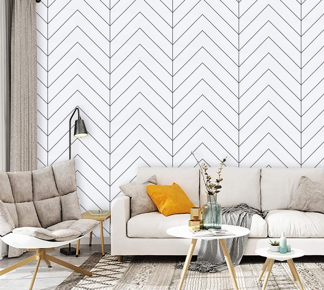 Современная Белая и черная бумага с геометрическим рисунком, настенная бумага с полосками, самоклеящаяся бумага для покрытия стен, домашни...