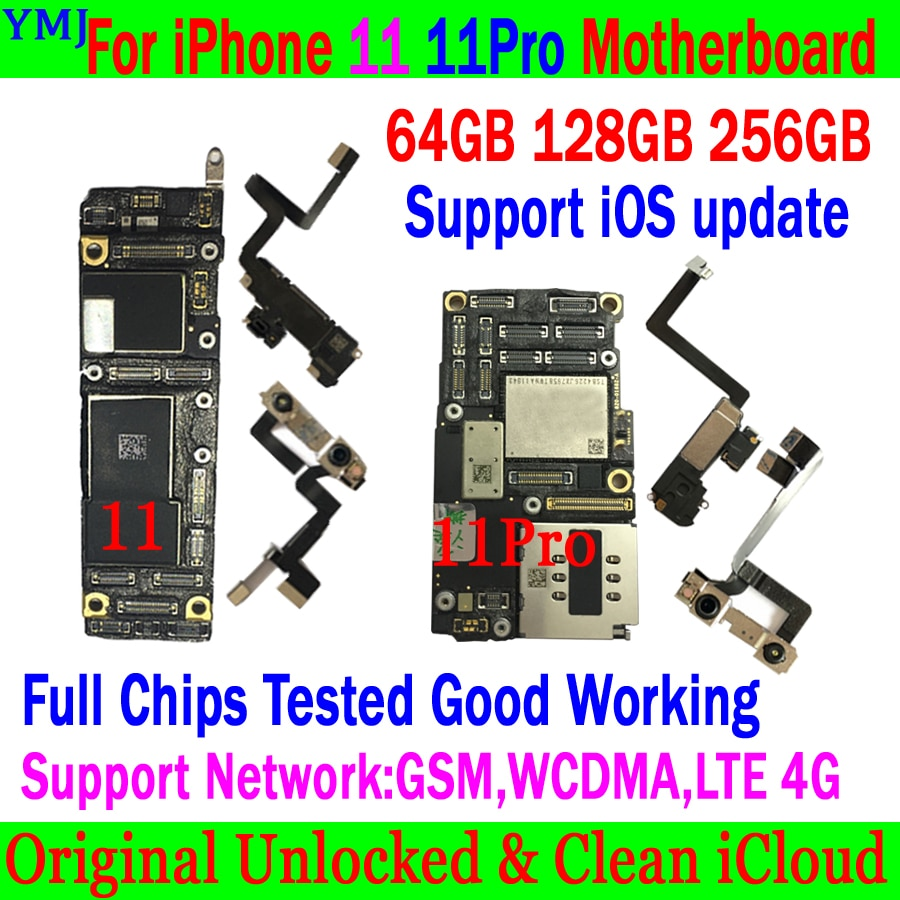 Get 100% Original Unlocked For iPhone 11 Pro Max Motherboard With/No Face ID Full chips & clean icloud Logic board Support iOS updat