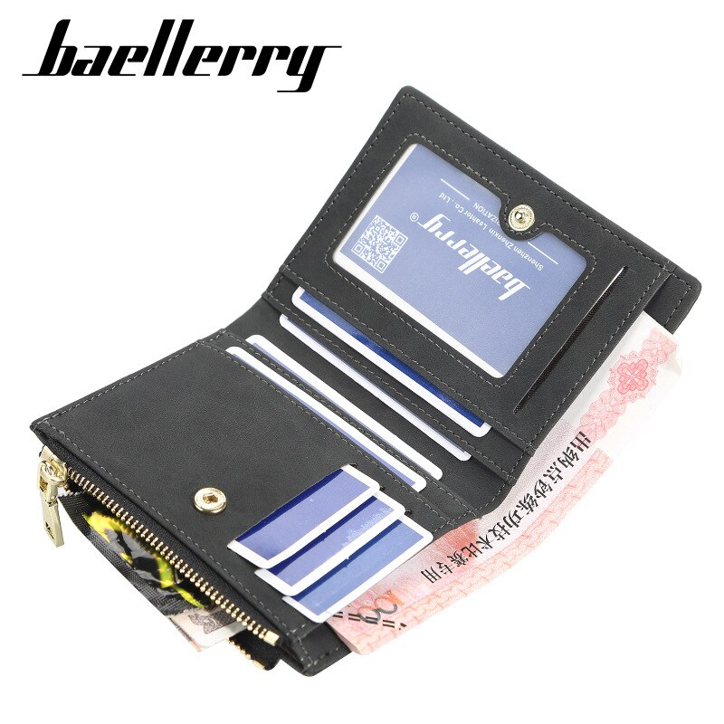 Baellerry Men Short Wallet Korean Pu Leather Card Holder Man Coin Purse Money Clip Teens Zipper Two Fold Brown Male Brand