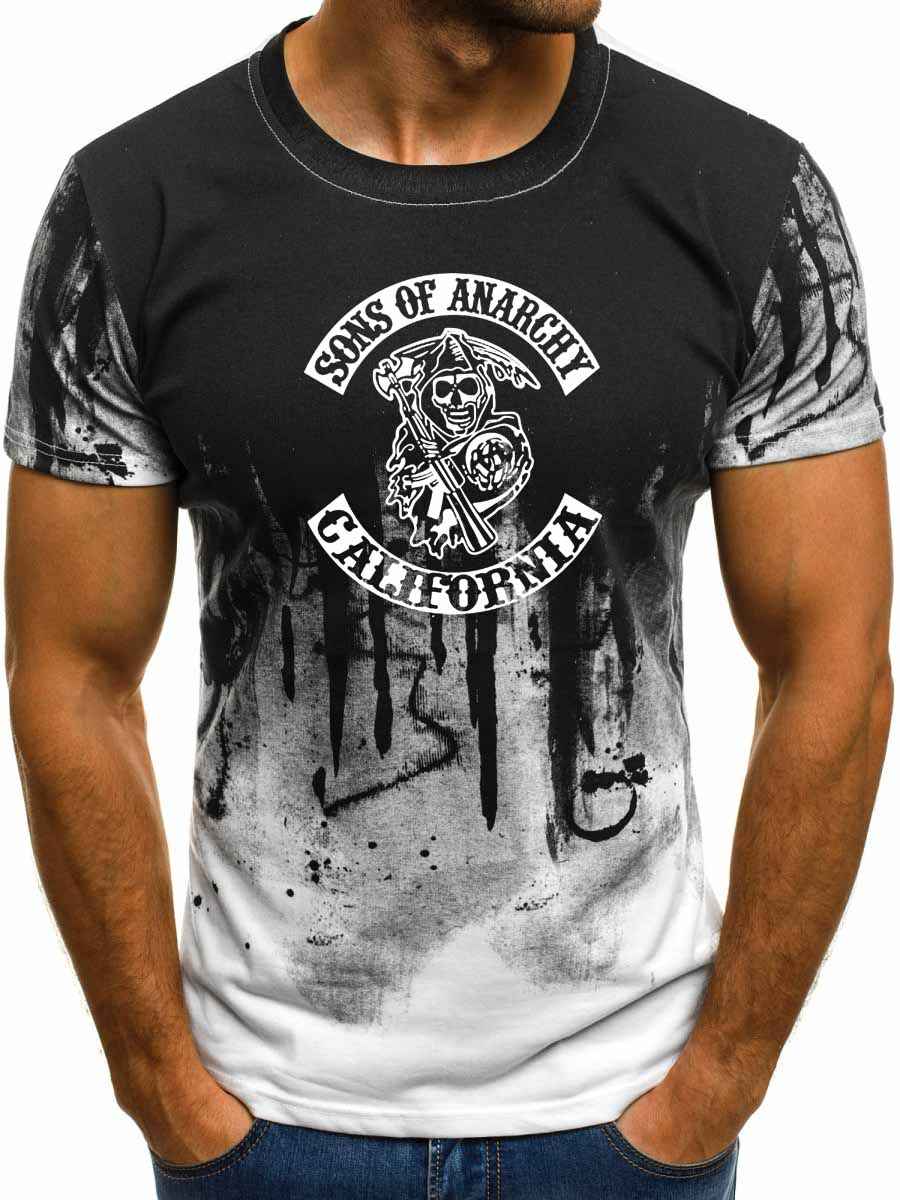 SOA Sons of anarchy-Camiseta con estampado de calavera Gradien para hombre, camiseta informal de algodón de manga corta de estilo Hip Hop para hombre