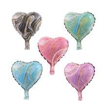5 pièces 10 pouces or fil Texture Agate ballons étoile coeur hélium ballon décoration de mariage fête danniversaire Air Globos bébé douche