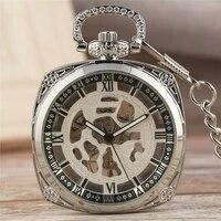 silver square hand winding mechanical pocket watch for men women roman numeral luminous hands pendant chain skeleton clock gift