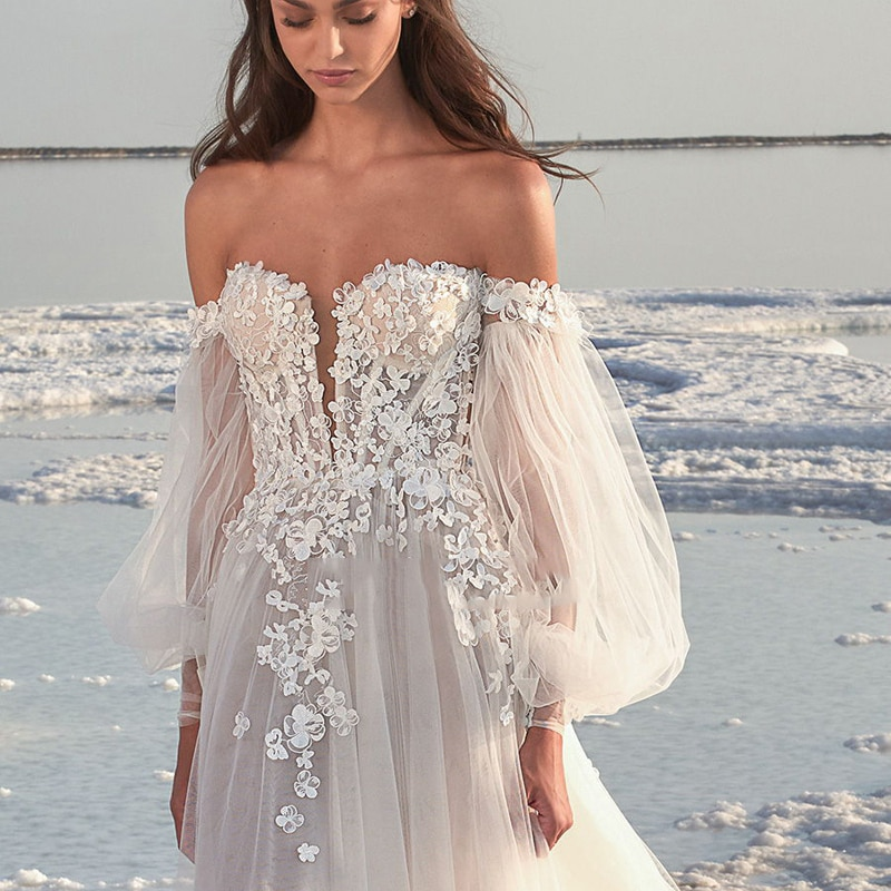 Romantic Scoop Long Sleeve Bridal Gown A-Line Wedding Dress Chiffon Lace Backless Boho Hippie vestidos de mairee Wedding Dress
