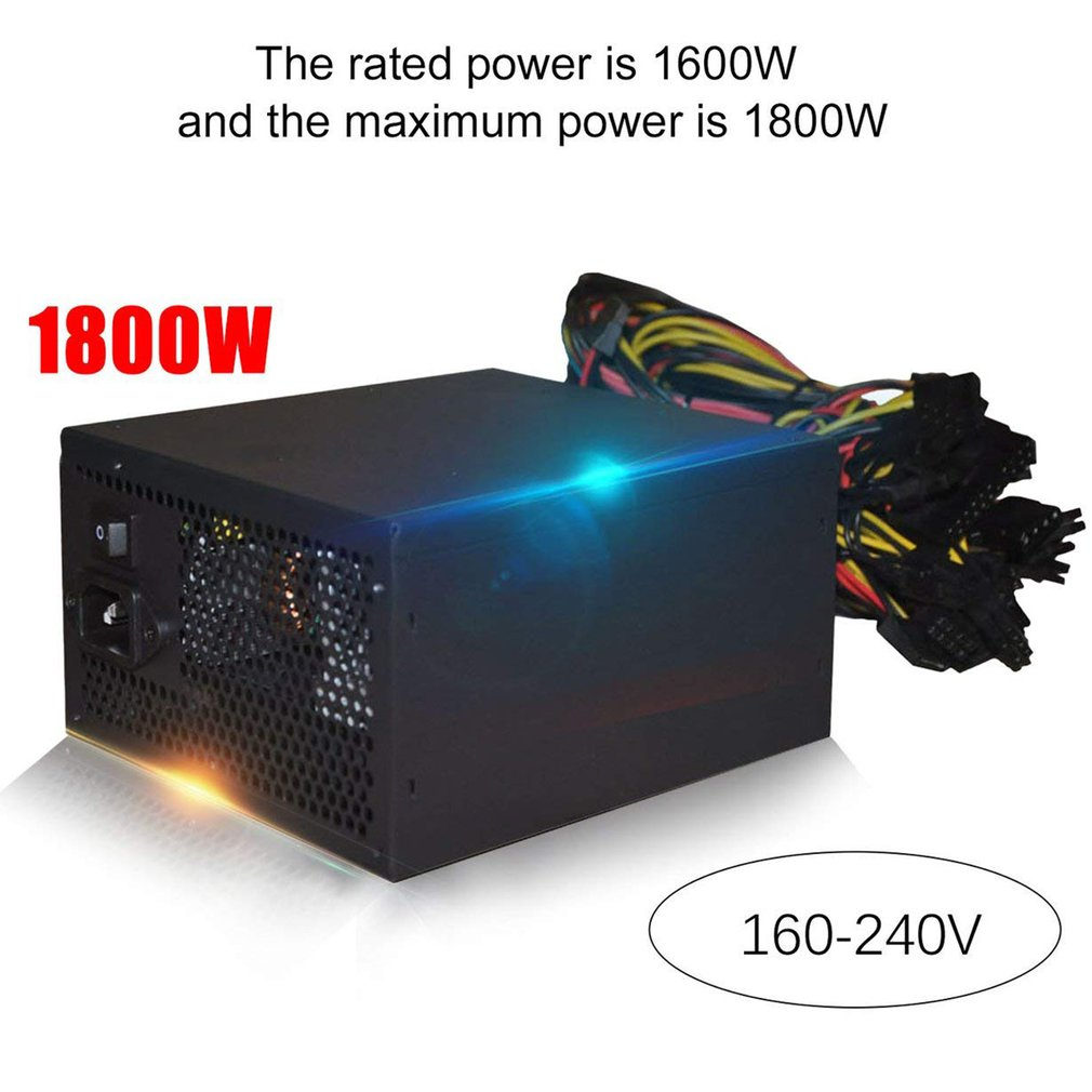 1800W 160-240V ATX Mining Bitcoin Power Supply 90% High Efficiency for Ethereum ETH S9 S7 L3  8GPU cards support Max