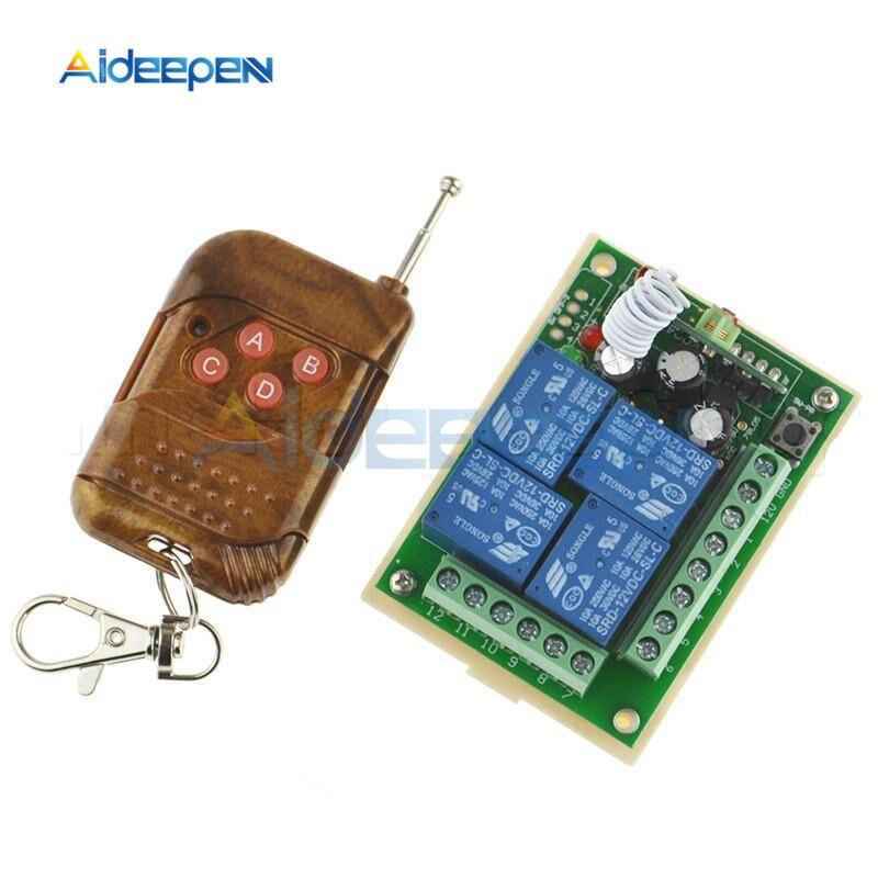 Cc 12V 433 Mhz interruptor de Control remoto inalámbrico Universal 4CH módulo receptor de relé con 4 canales RF remoto 433 Mhz transmisor