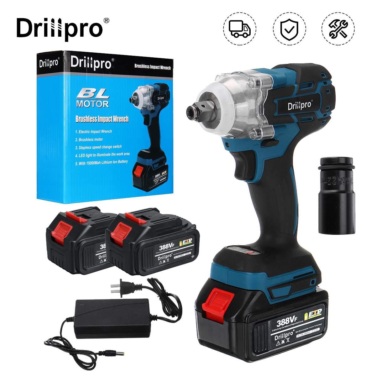 Drillpro 388VF بدون فرشاة لاسلكي مفتاح برغي كهربائي 1/2 بوصة أدوات كهربائية 15000Amh بطارية كم لبطارية ماكيتا 18 فولت