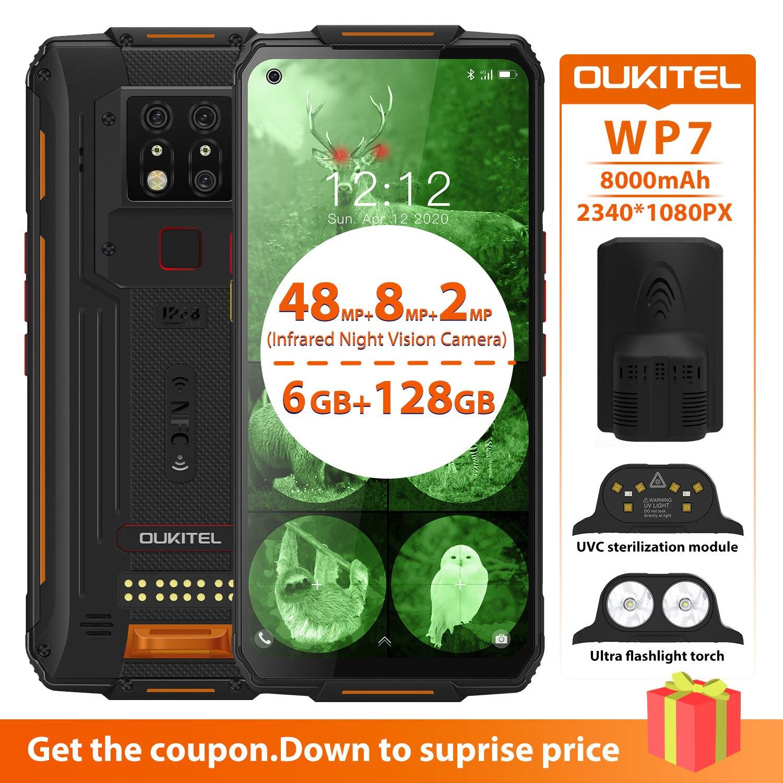 Перейти на Алиэкспресс и купить OUKITEL WP7 мобильный телефон 6 ГБ + 128 ГБ 6,53 ''IP68 водонепроницаемый прочный смартфон инфракрасное ночное видение 8000 мАч 48MP тройные камеры