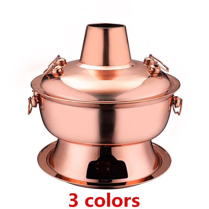Olla caliente de acero inoxidable de 2,8 l, fondue china, olla caliente de carbón de cordero, cocina de picnic al aire libre, plato de frotamiento, olla dorada de carbón