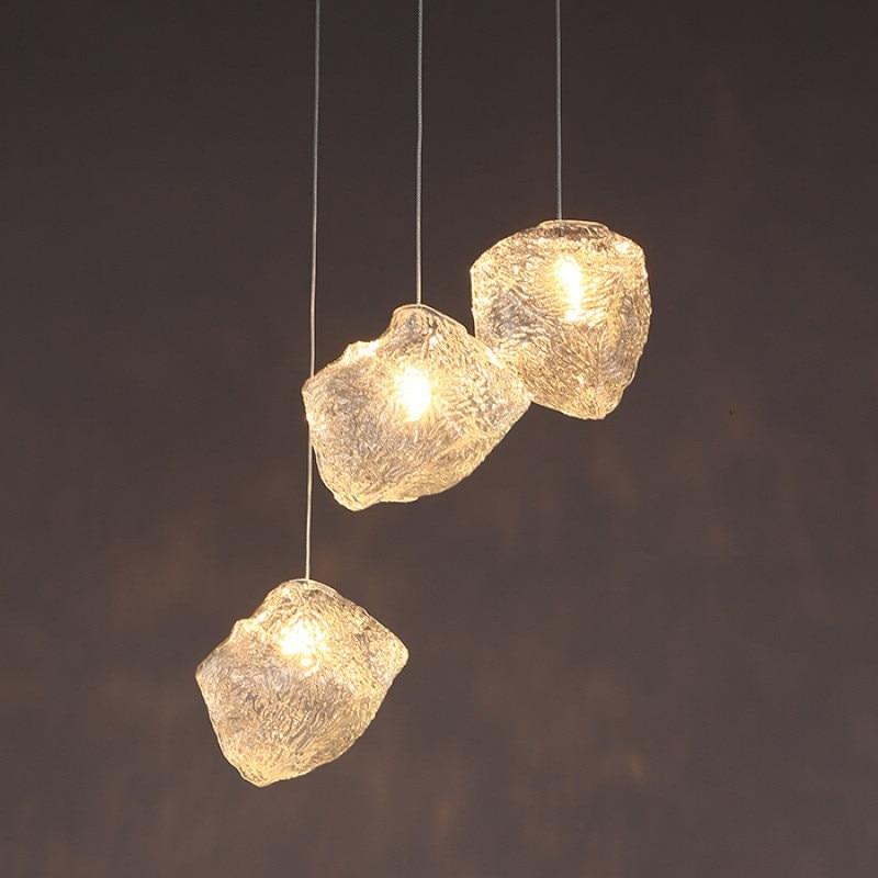 الشمال شخصية الفن الثريا الإبداعية آيس كيوب الزجاج الثريا LED موضة بارتابل مصباح مطعم الثريا الشرفة ضوء