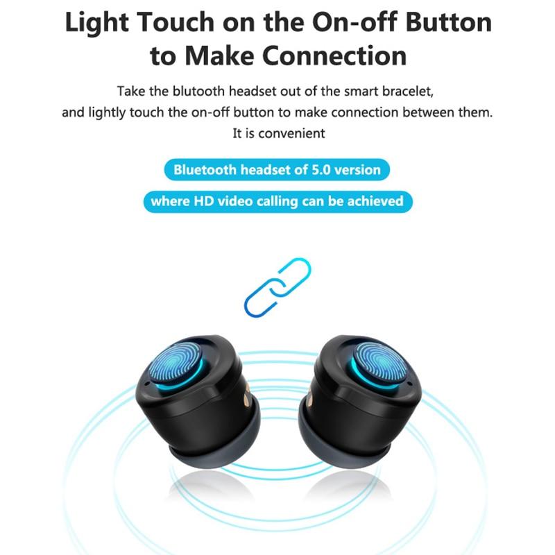 T90 Bluetooth Earphone TWS Headset Smart Watch Siri Fitness Bracelet Health Tracker Multi-Sport for Phone Music Play
