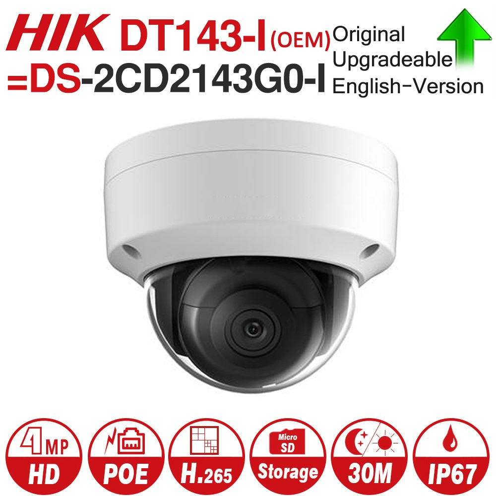 Hikvision OEM ip-камера DT143-I (OEM DS-2CD2143G0-I) 4MP Сетевая купольная POE ip-камера H.265 CCTV камера Слот для карты SD