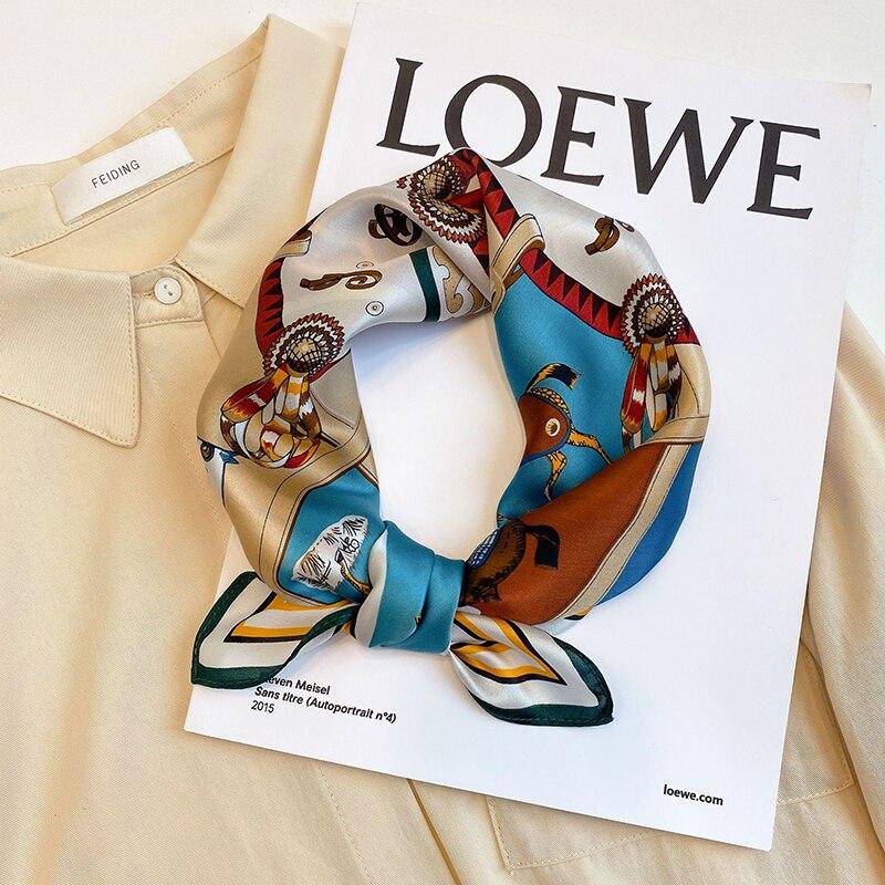 Luxury 100% Silk Scarf Women Fashion Bandana Horse Print Neck Hairband Headband Headscarf Small Square Kerchief 53*53cm