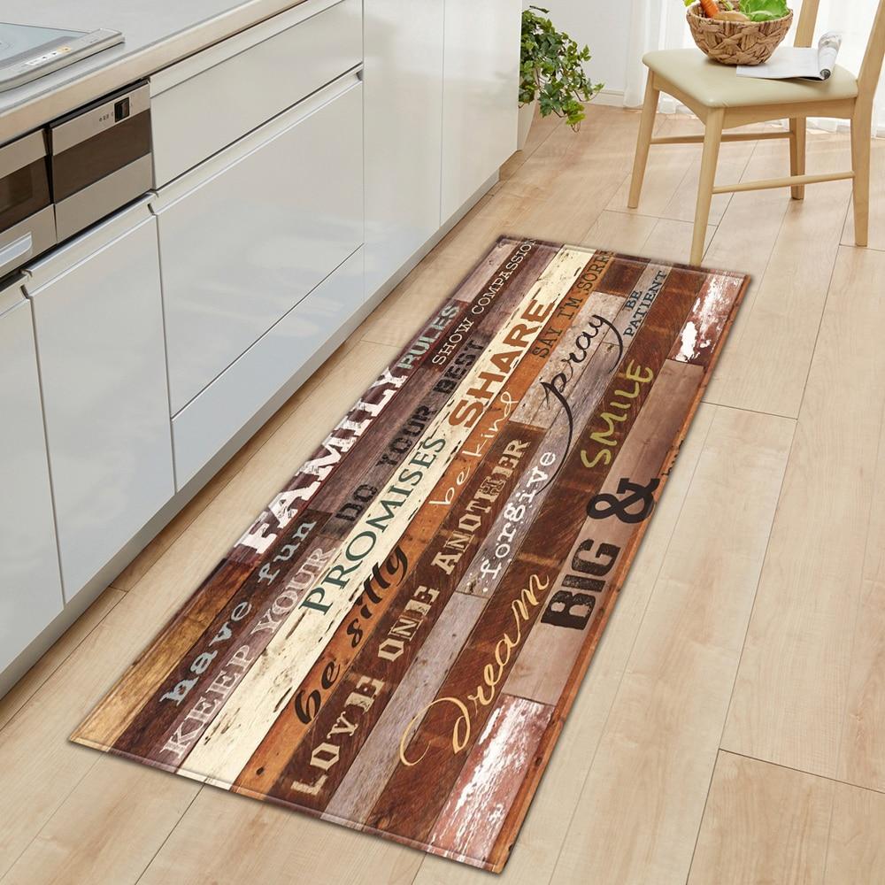 Nordic Kitchen Mat Bedroom Entrance Doormat Home Hallway Floor Decoration Living Room Carpet Wood gr