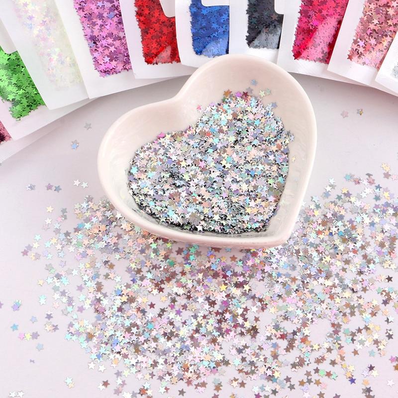 3mm estrella Flake PET Glitter Paillettes láser oro Lentejuelas Rosa Lentejuelas 15 colores opción suelta Lentejuelas ajuste para uñas arte 8g