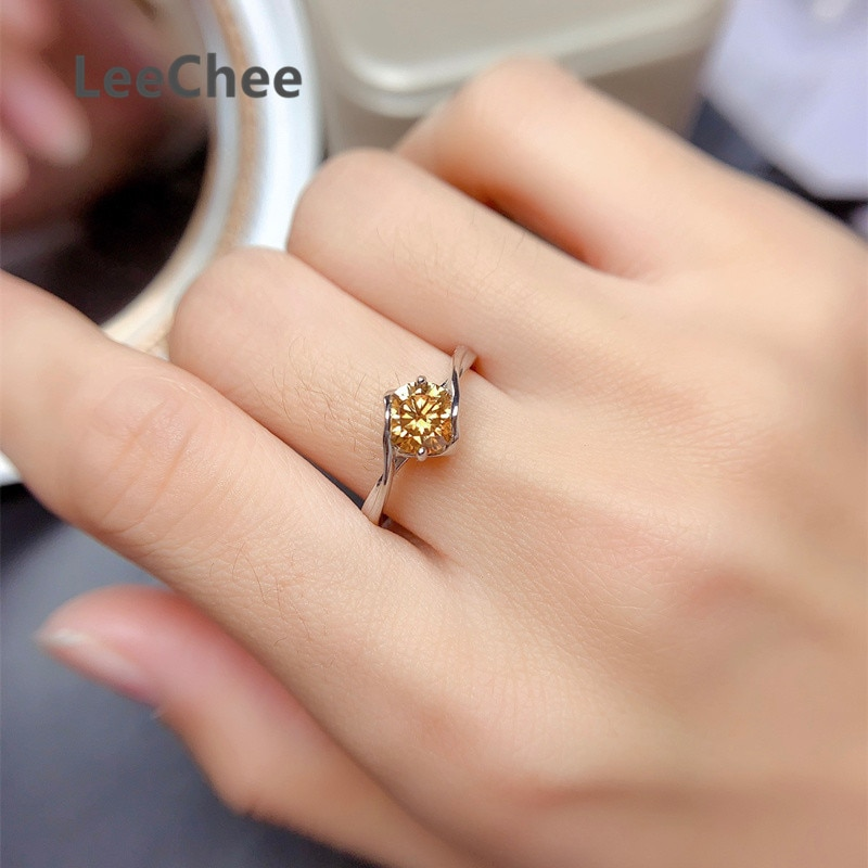 Yellow Moissanite Ring Real 925 Sterling Silver Fine Jewelry for Women Engagement Gift 1CT VVS Lab Diamond with Certificate