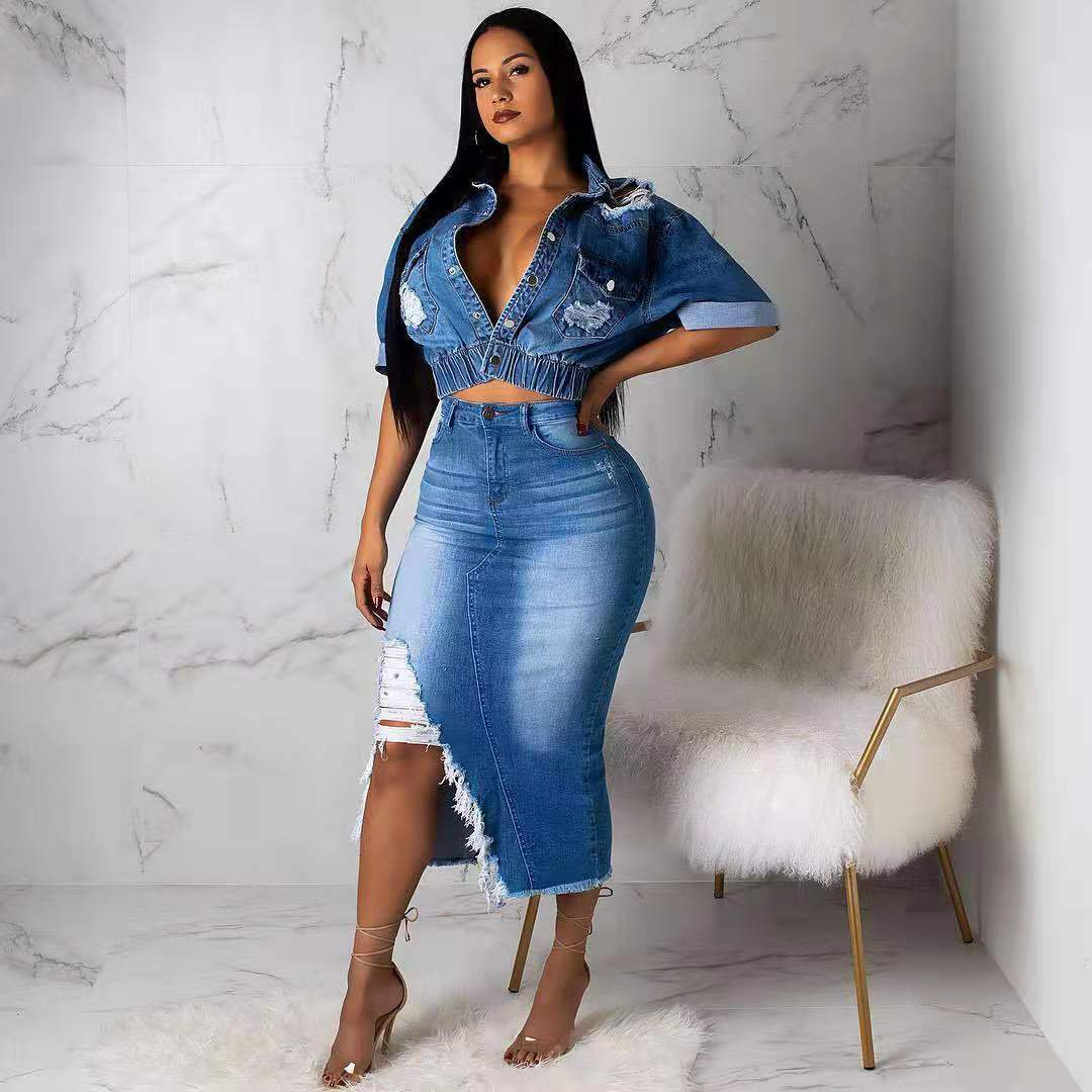 تنورة من قماش الدنيم المغسول ملابس أفريقية وقمصان علوية طقم متناسق تنورة نسائية جينز عصرية مثيرة من قطعتين ملابس خروج
