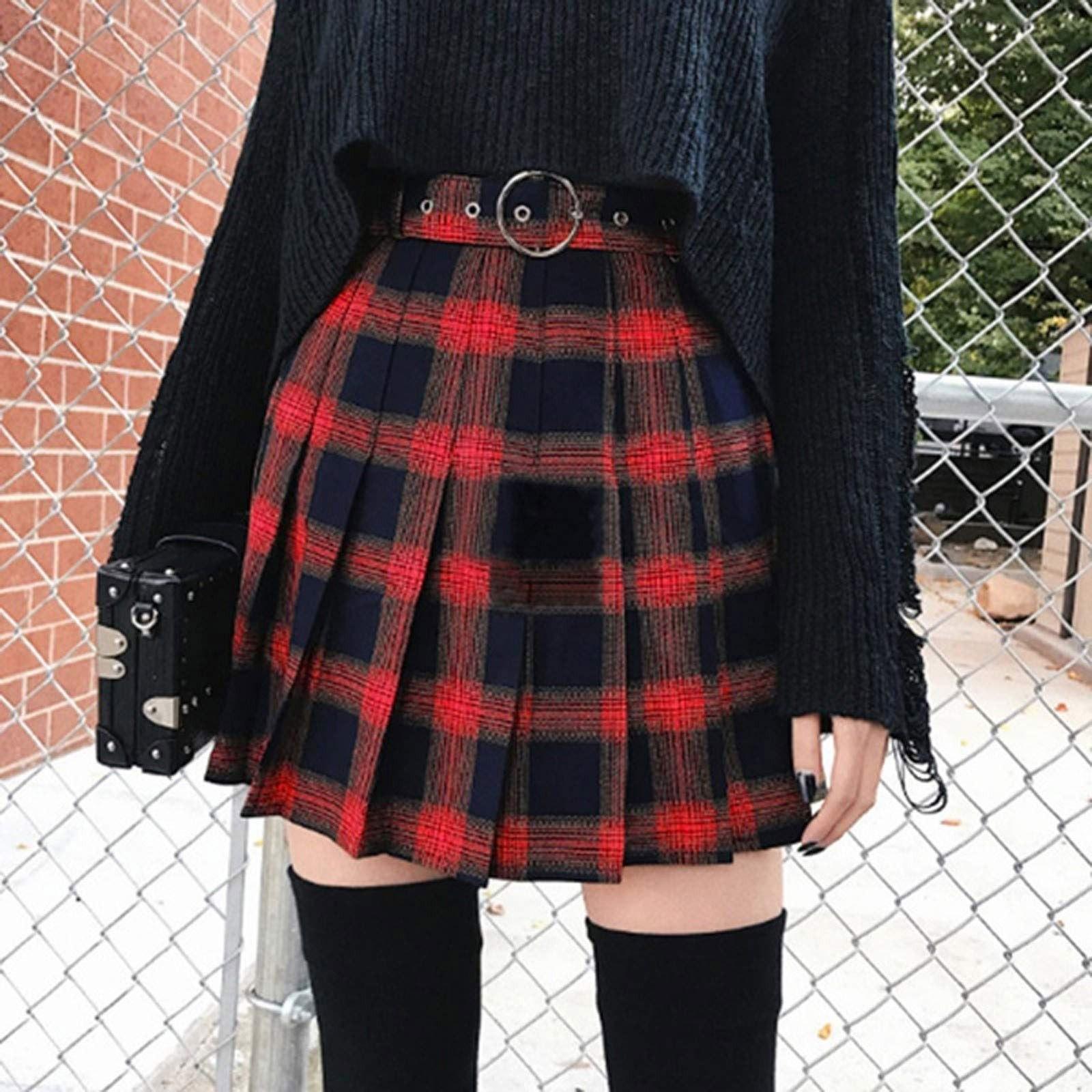 Женская мини-юбка с завышенной талией, расклешенная шерстяная мини-юбка трапециевидной формы в клетку, юбка на шнуровке, новинка 2021
